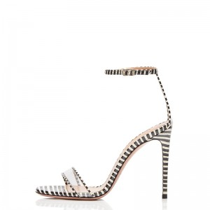 Black and White Strips Stiletto Heel Ankle Strap Sandals