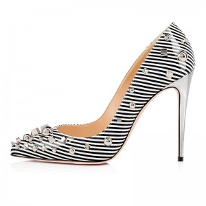 Black and White Strips Studs Patent Leather Stiletto Heels Pumps