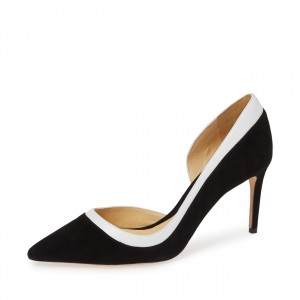 Black and White Suede Stiletto Heels Dorsay Pumps