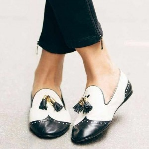 Black and White Tassels Hollow Out Loafers for Women