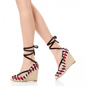 Black and White Wedge Heels Platform Strappy Pumps