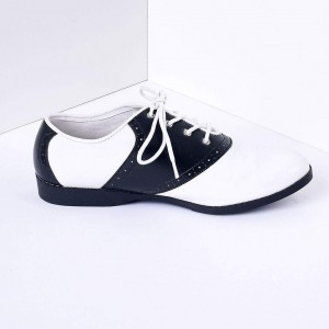 Black and White Women's Oxfords Lace-up Flats Vintage Shoes
