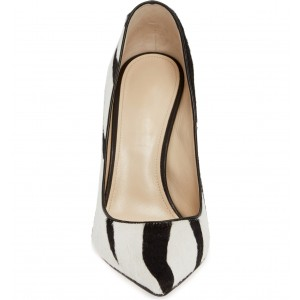 Black and White Horsehair Stiletto Heels Zebra Print Pointy Toe Pumps