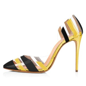 Black and Yellow Stiletto Heels Patent Leather Clear PVC Pumps