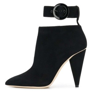 Black Ankle Strap Buckle Cone Heel Ankle Booties