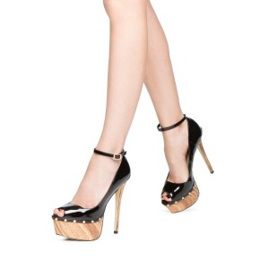 Black Ankle Strap Heels Patent Leather Platform Pumps with Rivets