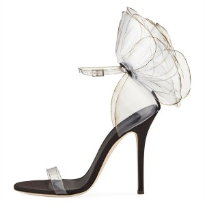 Black Ankle Strap Heels Satin Clear PVC Fashion Stiletto Heel Sandals