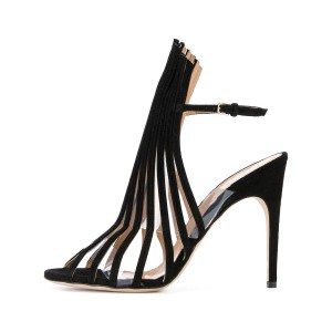 Black Ankle Strap Hollow Out Stiletto Heels Sandals