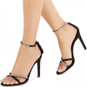 Black Ankle Strap Sandals Rhinestone Stiletto Heel Sandals