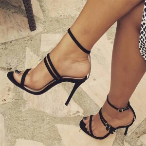 Black Ankle Strap Sandals Suede Buckle Stiletto Heel Shoes