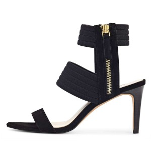 Black Ankle Strap Stiletto Heel Sandals for Women