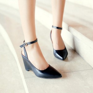 Women's Black Pointy Toe Ankle Strap Wedge Heels Pumps
