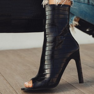 Black Bamboo Stiletto Boots Peep Toe Mid Calf Boots