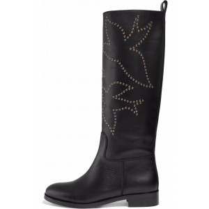 Black Bird Studs Flat Knee Boots