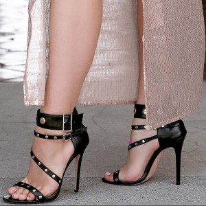 Black Open Toe Studs Shoes Stiletto Heels Ankle Strap Sandals