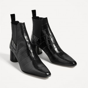 Women's Black 3 Inch Heels Chunky Heel Boots Pointy Toe Ankle Booties