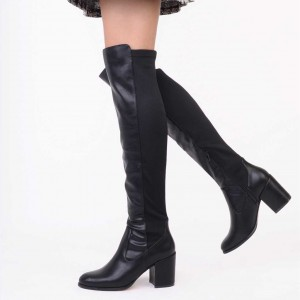 Black Block Heel Long Boots Over the Knee Boots