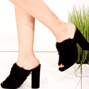 Black and Dark Brown Fur Heels Peep Toe Chunky Heel Mules US Size 3-15