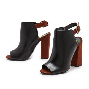 Black and Maroon Summer Boots Peep Toe Chunky Heels Slingback Shoes