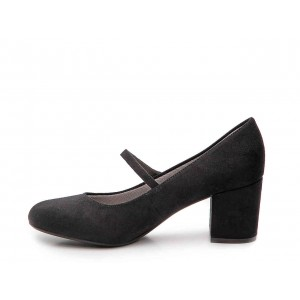 Black Block Heels Mary Jane Shoes Round Toe Pumps for Office Lady