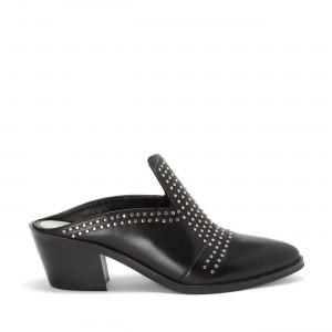 Black Block Heels Mule Rivets Round Toe Loafers for Women