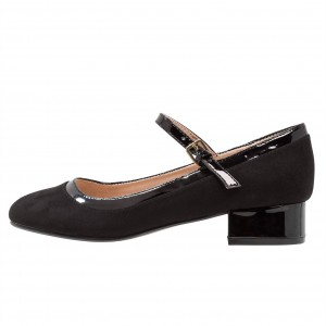Black Block Heels Round Toe Mary Jane Pumps School Shoes