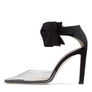 Black Bow Ankle Strap Heels Clear PVC Chunky Heel Pumps