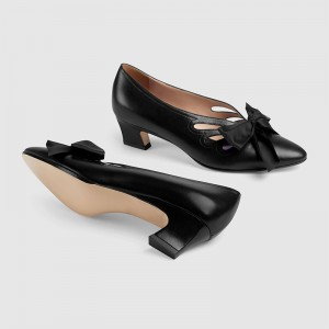 Black Bow Hollow Out Chunky Heel Office Heels Pumps