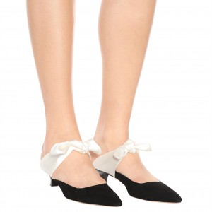 Black Bow Kitten Heels Suede Mule Heels for Women