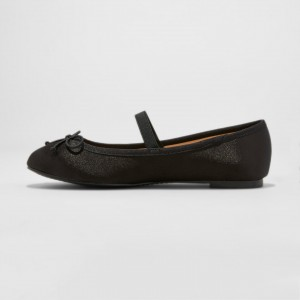 Black Bow Mary Jane Shoes Round Toe Flats Ballet Shoes