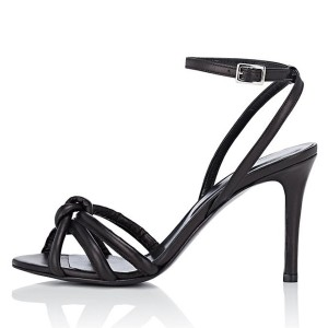 Black Bowknot Slingback Stiletto Heel Ankle Strap Sandals