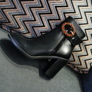 Black Buckle Accessories Decorated Almond Toe Block Heels Ankle Boots