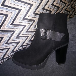 Black Buckle Almond Toe Block Heels Ankle Boots