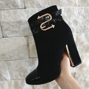 Black Buckle Block Heel Ankle Booties For Women