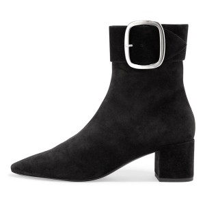 Black Buckle Chunky Heel Boots Ankle Boots