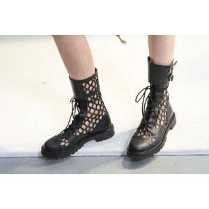 Black Buckle Lace-up Boots Hollow out Round Toe Mid Calf Boots