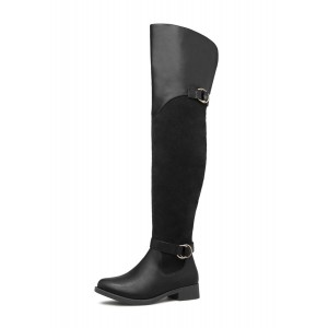 Black Buckle Long Boots Round Toe Flat Over-the-Knee Boots