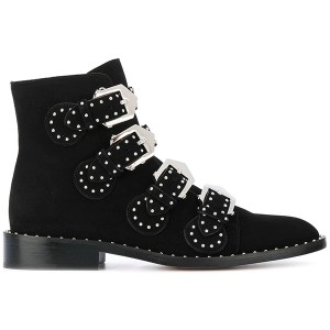 Black Buckle Motorcycle Boots Pointy Toe Chunky Heel Studs Short Boots