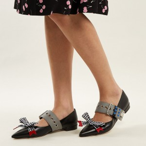 Black Buckle Plaid Bow Comfortable Flats