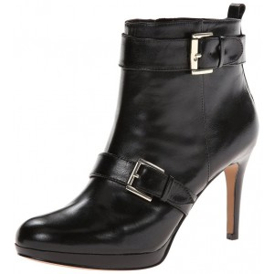 Black Buckle Platform Boots Fashion Almond Toe Ankle Boots