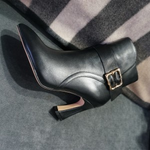 Black Buckle Spool Heel Ankle Booties