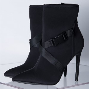 Black Buckle Stiletto Heel Ankle Booties