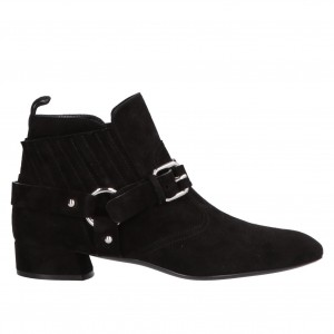 Black Buckles Fashion Boots Block Heel Suede Ankle Booties