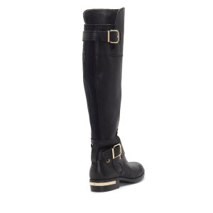 Black Buckles Flat Knee Boots