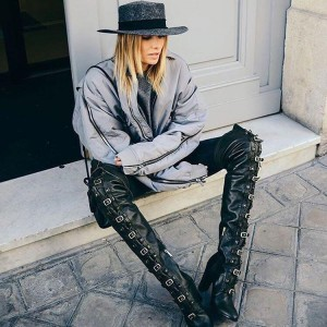 Black Buckles Long Boots Lace up Chunky Heels Over-the-knee Boots