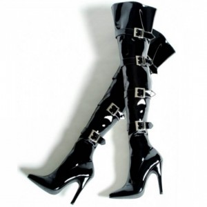 Black Buckle Boots Patent Leather Pointy Toe Sexy Thigh High Boots