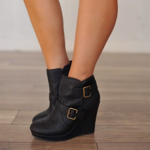Black Buckles Platform Wedge Booties