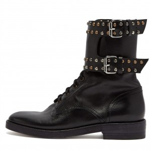 Black Flat Boots Round Toe Lace up Ankle Boots with Studs Buckles