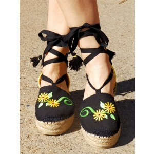 Black Canvas Espadrille Sandals Platform Tassel Strappy Sandals