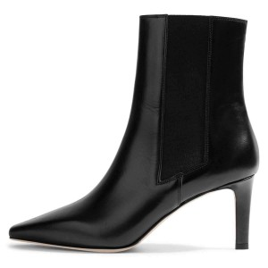 Black Chelsea Boots Stiletto Heel Low Heel Ankle Boots